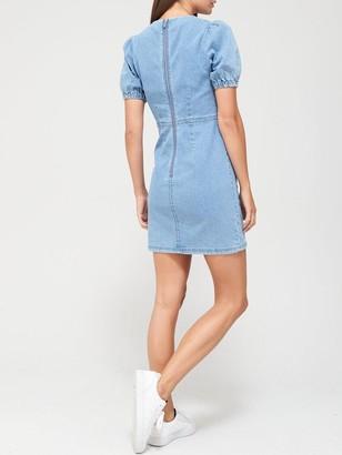 Very Puff Sleeve Denim Dress - Mid Wash