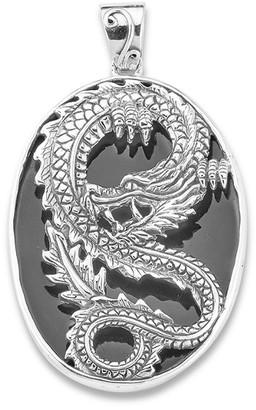 Samuel B. Silver Black Shell Dragon Pendant