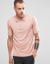 Weekday Dig Zip Polo Neck Jumper Short Sleeve In Pink