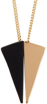 Natasha Accessories Two Tone Triangle Pendant Necklace