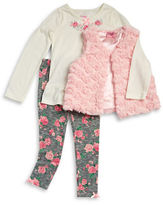 Nannette Girls 2-6x Faux Fur Vest, Tunic and Leggings Set