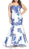 Mac Duggal Plus Size Women's Embellished Strapless Zip Off Mermaid Gown