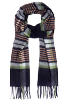 Johnstons of Elgin Navy Stripe Check Cashmere and Merino Wool-Blend Scarf