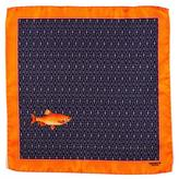 Black The 'Caught Fish' Italian Silk Pocket Square