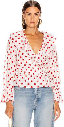 Rixo Roisin Top in White & Red Polka Dot | FWRD