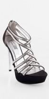 Camille La Vie High Heel Zipper Back Rhinestone Platform Sandal