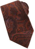 Kiton Menswear Paisley Wool/Silk Tie, Brown/Purple