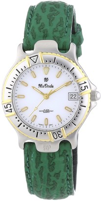 Mx Onda Women's Quartz Watch with White Dial and Green Leather Strap 32-1201-15