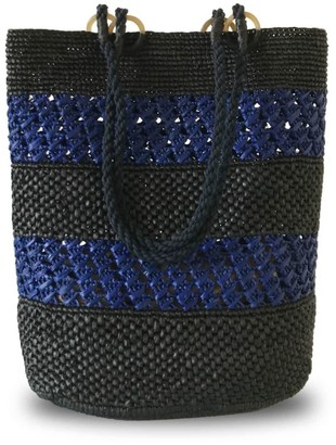 Maraina London Zoe Black & Blue Raffia Tote Beach Bag