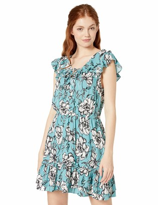 Jack by BB Dakota Women's Pretty Perfect Printed Dress w/lace up Detail