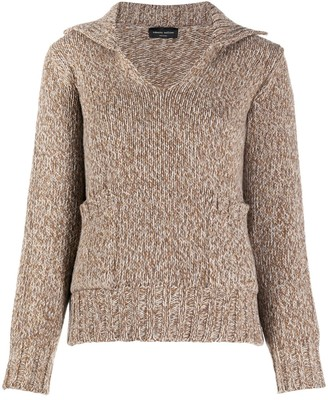 Roberto Collina Marl-Knit Spread Collar Jumper