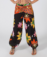 Aller Simplement Black & Yellow Abstract Palazzo Pants