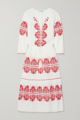 Melissa Odabash Lela Embroidered Cotton-gauze Maxi Dress