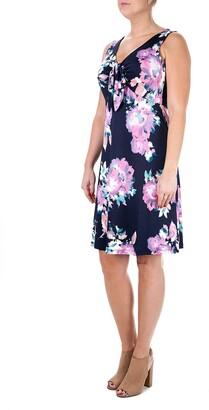 Nina Leonard V-Neck Tie Front Dress
