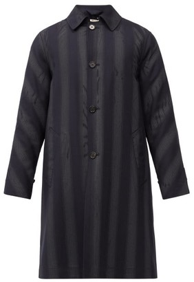 Marni Striped Wool Car Coat - Black Blue