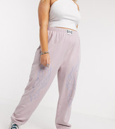 New Girl Order Curve oversized sweatpants with flame outline two-piece