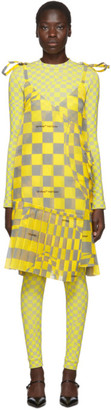 Off-White Off White Yellow and Grey Checked Bubble Dress
