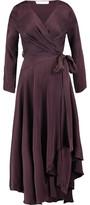 Zimmermann Asymmetric Belted Washed-Silk Wrap Dress
