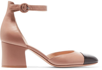 Gianvito Rossi 60 Two-tone Leather Mary Jane Pumps - Beige