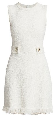 Oscar de la Renta Sleeveless Tweed Button Knit Sheath Dress