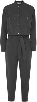 Vanessa Bruno Mali Cropped Belted Brushed-twill Jumpsuit