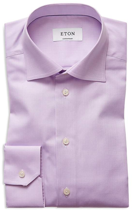 Eton Herringbone Solid Regular Fit Dress Shirt