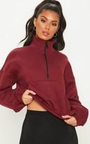 Anil Burgundy Oversized Zip Front Sweater