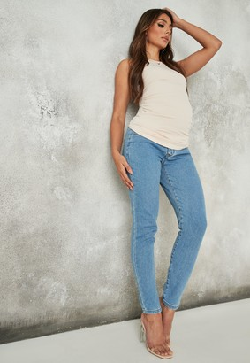 Missguided Blue Comfort Stretch Highwaisted Straight Leg Maternity Jeans