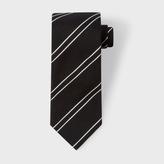 Paul Smith Men's Black Double Diagonal Stripe Silk Tie