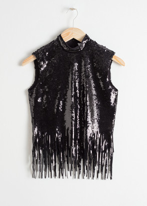 And other stories Sequin Fringe Turtleneck Top