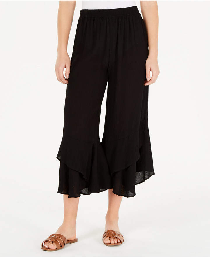 American Rag Juniors' Ruffled Wide-Leg Pants