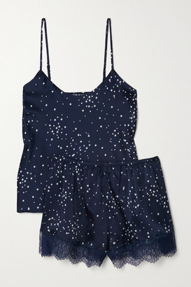 CAMI NYC Perry Lace-trimmed Printed Stretch-silk Charmeuse Pajama Set - Midnight blue