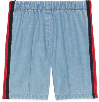 Gucci Baby denim trousers with Web