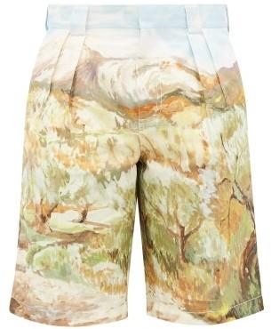 Jacquemus Costume Landscape-print Cotton Shorts - Multi