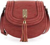 Neiman Marcus Trapunto Faux-Leather Saddle Bag, Rose