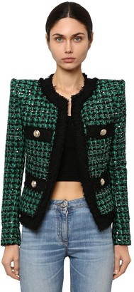 Balmain Embellished Techno Tweed Jacket