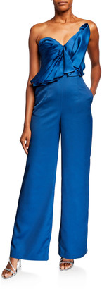 Flor Et. Al Flor Et.Al Wind Duchess Satin Strapless Jumpsuit with Bow Detail