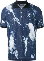 DSQUARED2 splattered bleach denim polo shirt - men - Cotton/Spandex/Elastane - 46