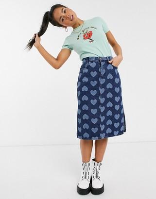 Lazy Oaf MIdI skirt in heart print denim
