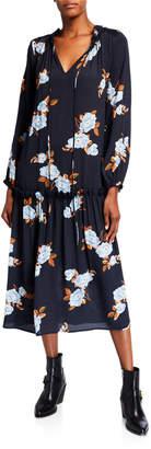 Rachel Pally Gail Floral Blouson-Sleeve Drop-Waist Crepe Midi Dress