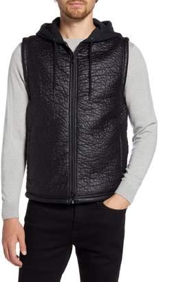 Robert Barakett Timbercreek Hooded Faux Leather Zip-Up Vest