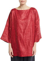 eskandar Bateau-Neck Crosshatch Linen Tunic