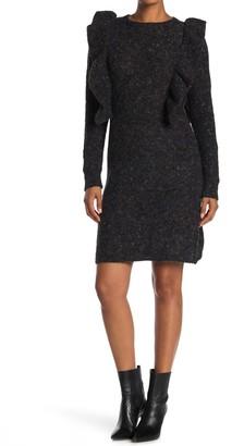 Max Studio Ruffle Bodycon Sweater Dress