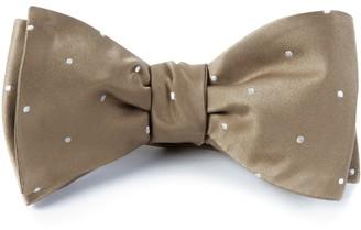 Tie Bar Satin Dot Champagne Bow Tie