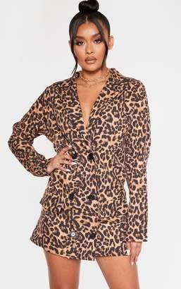 PrettyLittleThing Brown Leopard Print Boxy Oversized Blazer Dress