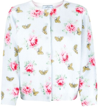 Prada rose and butterfly-print cardigan