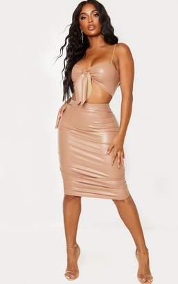 PrettyLittleThing Shape Taupe PU Ruching Midi Skirt