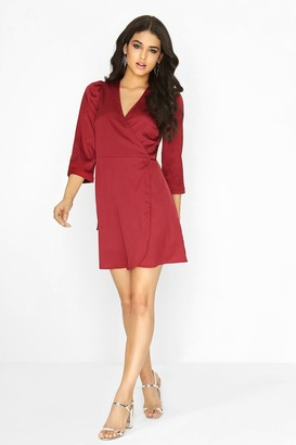 Girls On Film Burgundy Wrap Dress