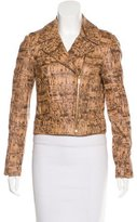 Diane von Furstenberg Leather Printed Jacket