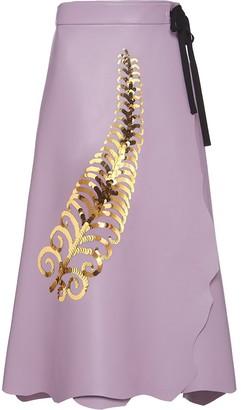 Prada sequin feather A-line skirt